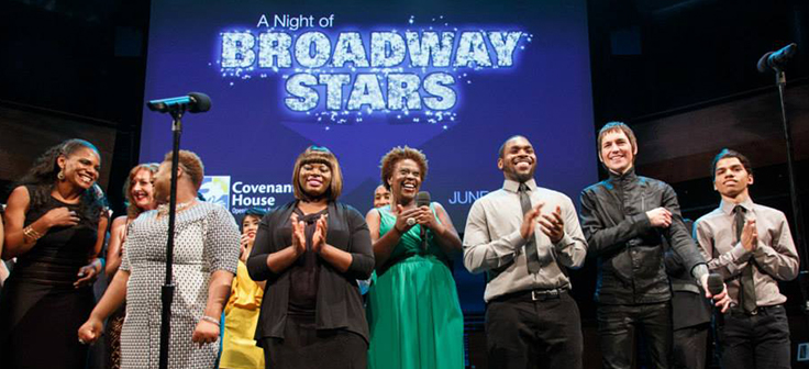 Night of Broadway Stars performers and youth on stage
