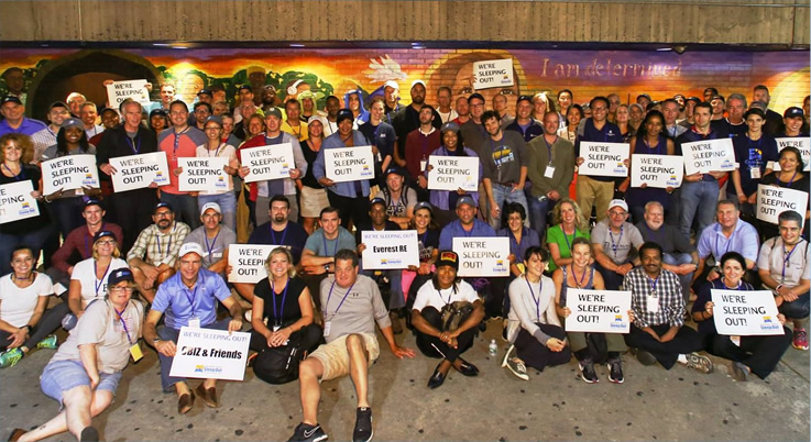 Reinsurance Sleep Out group photo