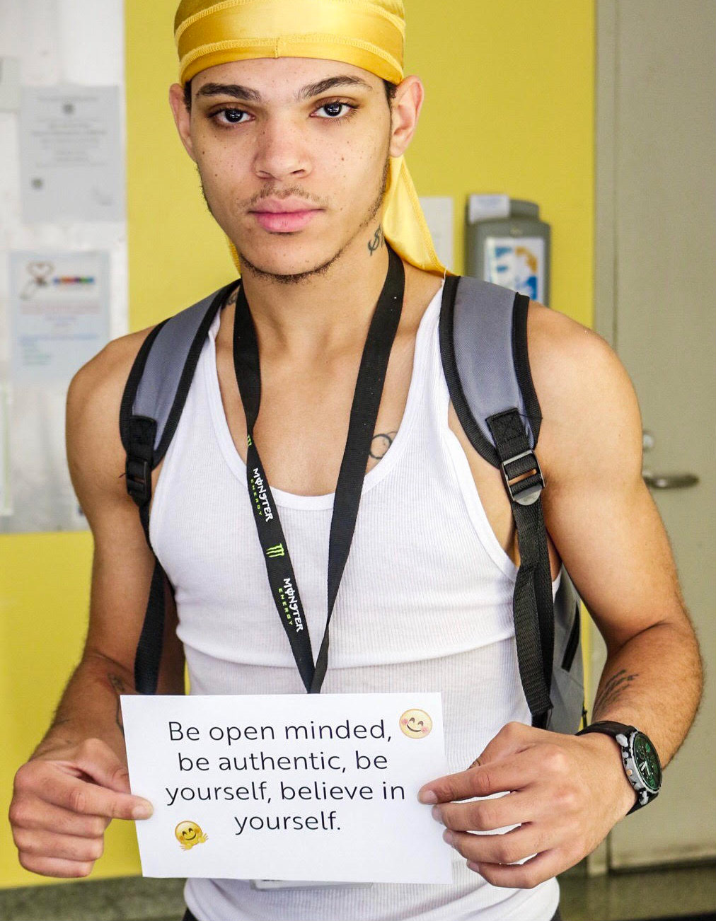 Young man with quote